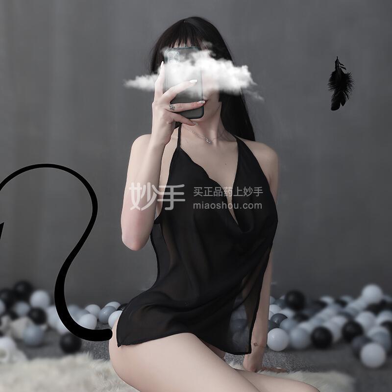 品贤 雪纺透视火辣肚兜女宫廷古典吊带黑色